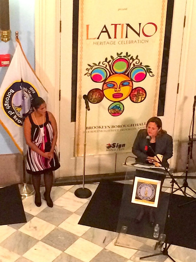 Deputy Brooklyn Borough President Diana Reyna (left) and Melissa Mark-Viverito, the Speaker of the NYC Council, at the Brooklyn Borough President's Latino Heritage Celebration. - Thurs. Oct. 30, 2014.
